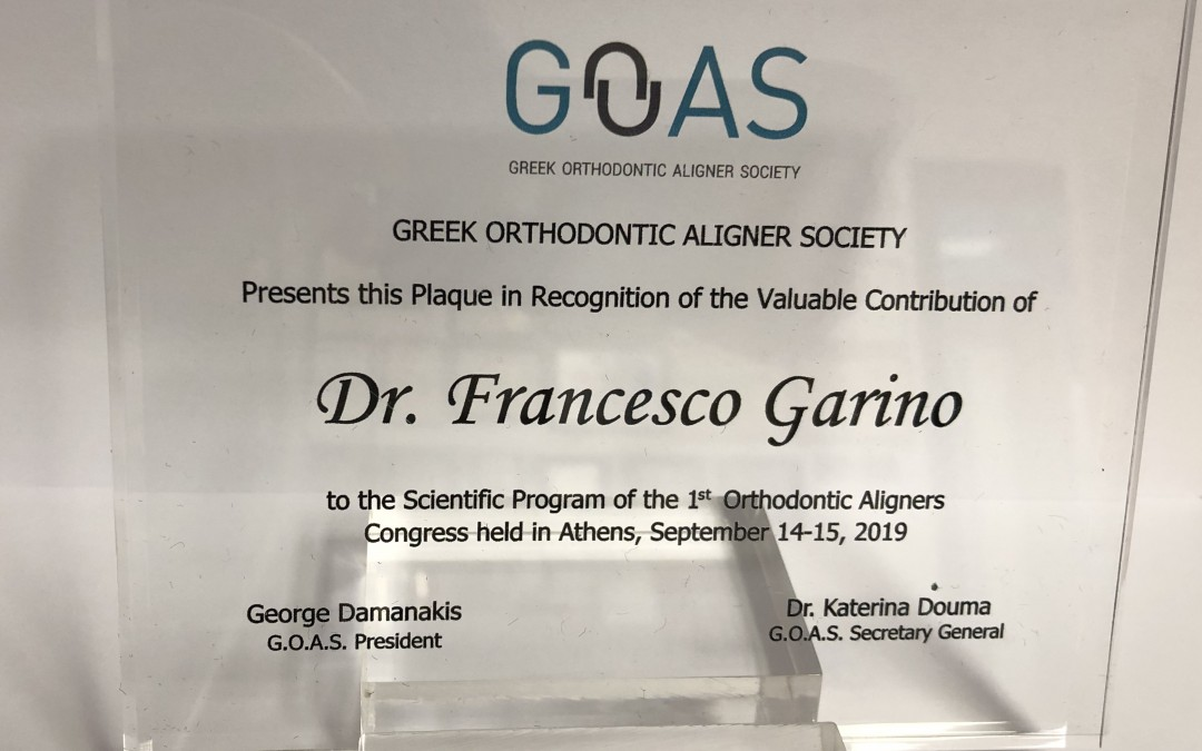 1 Congresso Greek Orthodontic Aligner Society, Atene 14-15 settembre 2019: conferenze Dr Francesco Garino